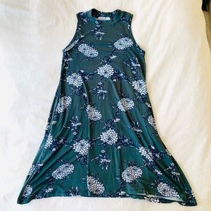 Expected high neck dress floral green small